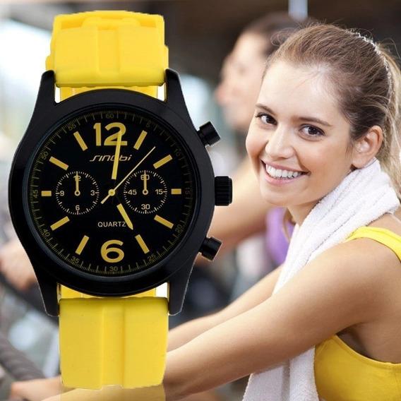Relógio De Pulso Esportivo Feminino Sinobi Pulseira De Silic
