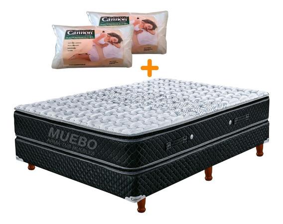 Sommier Y Colchon Cannon Doral Pillow 140x190 + 2 Almohadas Muebo 18 Cuotas Sin Interes