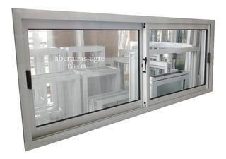Ventanas Aluminio Blanco 150x60 Vidrio Entero 4mm