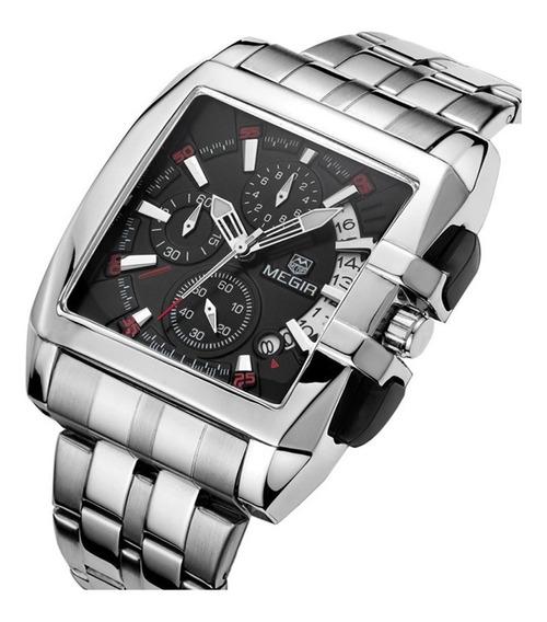 Relógio Megir Esportivo Quadrado Aço Inoxidável Quartzo 2018