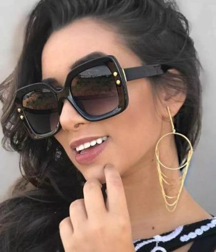 Óculos Feminino De Sol Estiloso Grande Quadrado Tendencia