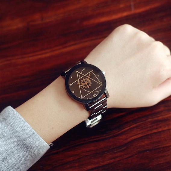 Relógio Masculino Automático Pulseira Em Metal Inox Preto!