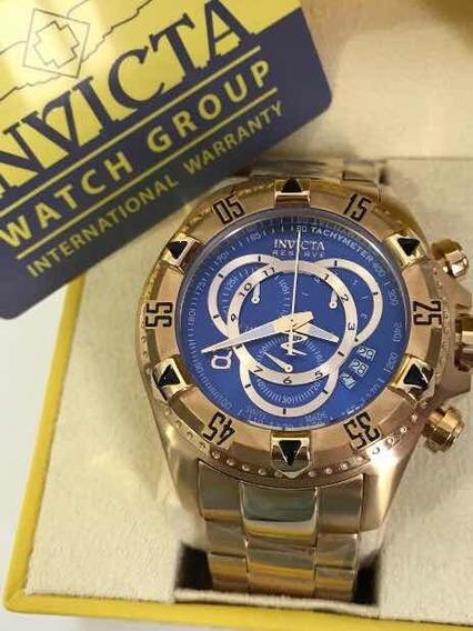 Relógio Invicta 6469 Excursion Dourado Fundo Azul Original