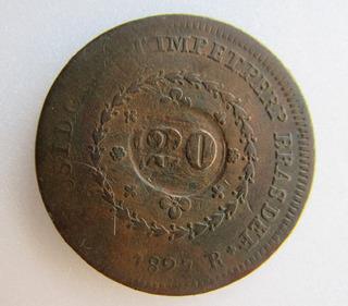 Moeda Antiga 40 Réis 1827r Com Carimbo De 20 Réis Cobre Bc