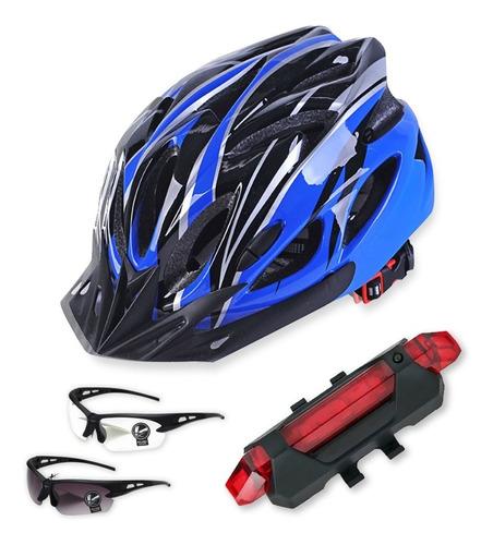 Imagen 1 de 9 de Casco De Bicicleta + Luz De Bicicleta Recargable Usb.