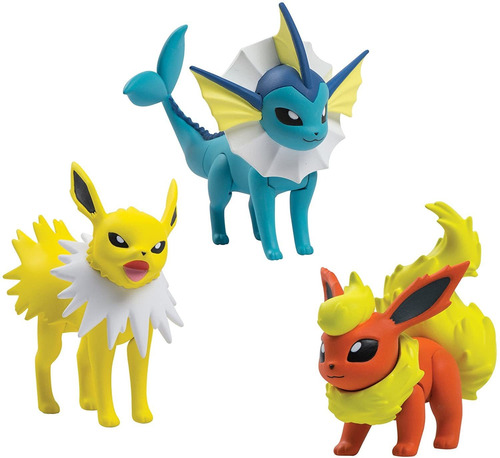 Imagem 1 de 2 de Pokemon - Pack 3 Bonecos Jolteon, Vaporeon E Flareon Tomy