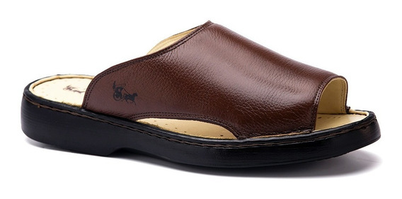 Chinelo Masculino 305 Em Couro Floater Tabaco Doctor Shoes