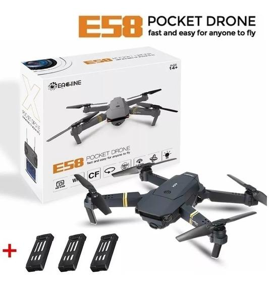 Drone Eachine E58 Wifi Fpv Com Controle 3 Baterias