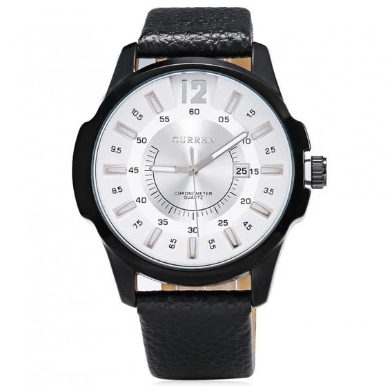 Relógio Masculino Preto Pulseira De Couro Social Curren 8123