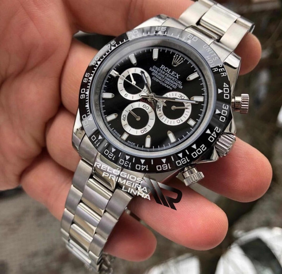 Relógio Rolex Daytona Aro Preto Prata Automático