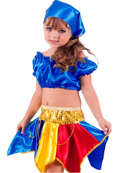 Roupa De Carnaval Feminino Infantil Cigana C/ Lenço + Brinde