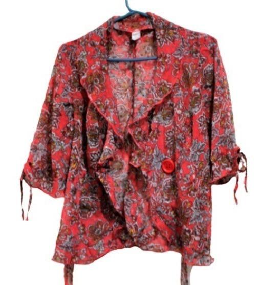 Camisa T-m Mujer Abierta C- Volados Rojo Poliester