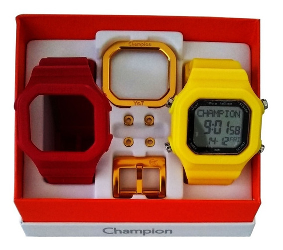 Relógio Champion Yot Original Cp40180x Vermelho Amarelo