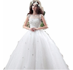 Vestido Novia Económico Flores Pedrería Gasa Estilo Princesa