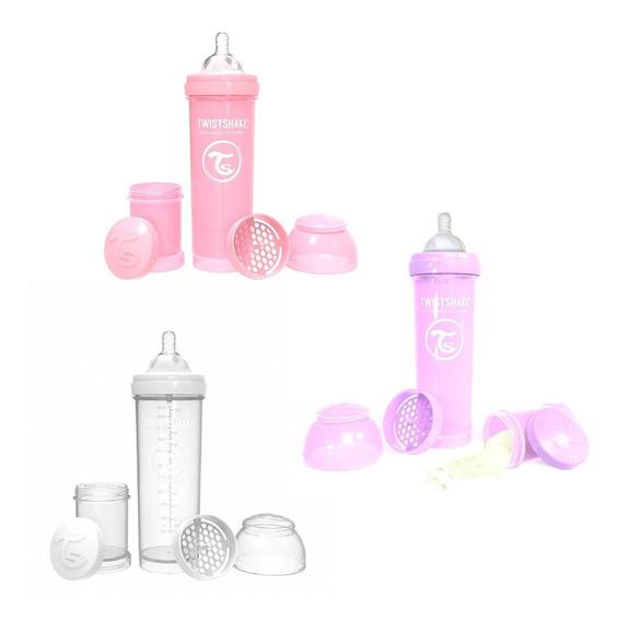 Combo Biberones 11oz (rosa Pastel, Morado,blanco) Twistshake