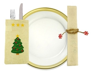 Adorno 3 Decoracion Navidad Escena Pcs Vajilla 0tp1