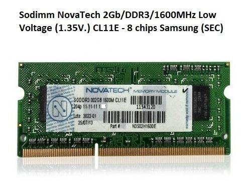 Memoria Notebook 2gb/ddr3l/1600mhz Novatech (low Voltage)