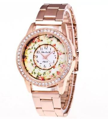 Relógio De Luxo Aço Diamante Rosa Ouro