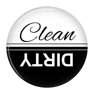 Limpiar Sucio Lavavajillas Imán Signo Indicador Negro Blanco