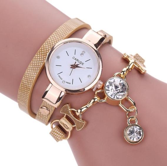 Relógio Feminino Pulseira Couro Trançada Dourado Barato