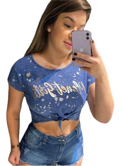 Cropped Azul Gotas De Glitter Letreiro Planet Girls