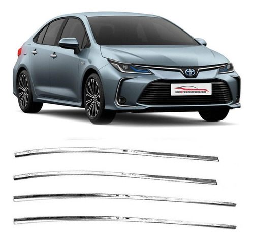 Kit Aplique Pestana Lateral Inferior Inox Corolla 2020 4 Pçs