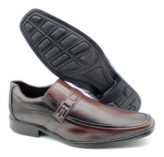 Sapato Social Masculino Bico Quadrado Verniz Cor Marrom 2025