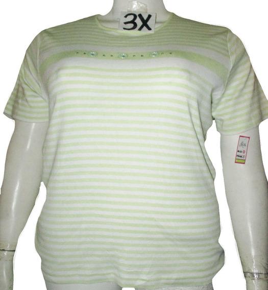 Blusa Blanca Franjas Verdes Talla 3x Americana