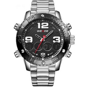 Relógio Masculino Weide Anadigi Wh-3405 Metal Prata E Preto