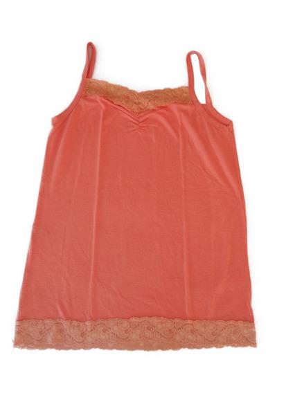 Musculosa Mujer Con Encaje Naranja Palido Usada Talle M