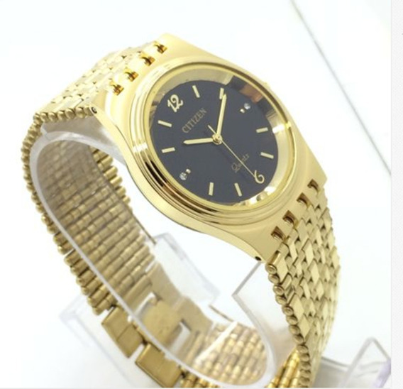 H) Relógio Citizen Banho Ouro Masculino Frete Grátis Promoção