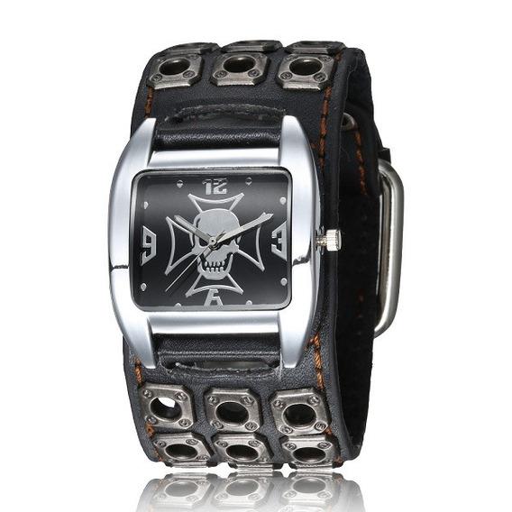 Relógio Barato Punk Rock Bracelete Masculino Feminino Preto