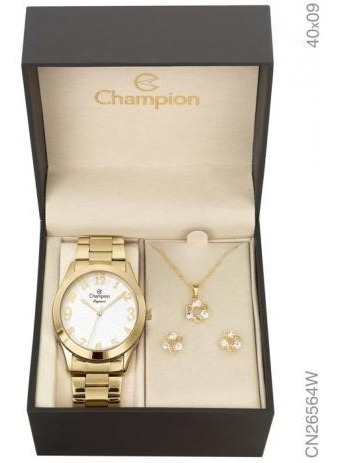 Relógio Feminino Champion Analógico Cn26564w + Kit Bijuteria