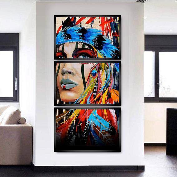 Trio Kit Quadros Decorativos Mosaico Para Sala Com Moldura