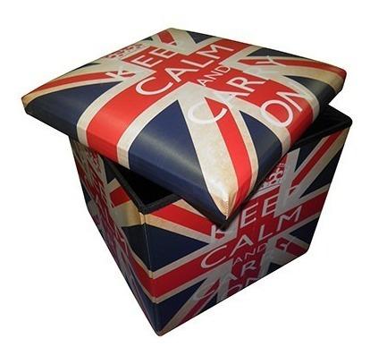 Puf Bau Porta Treco Dobra Bandeira Assento Retro London Keep