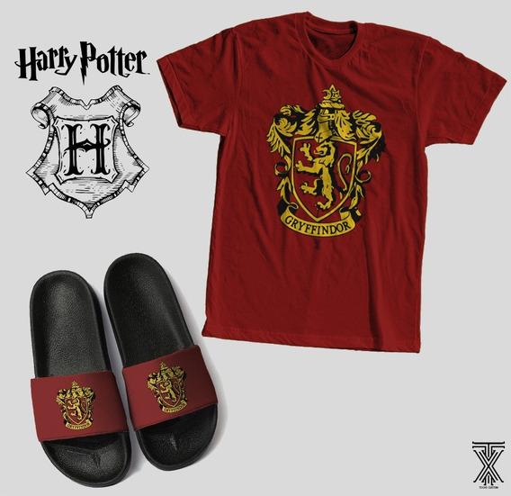 Kit Camiseta + Chinelo Harry Potter Grifinória Filme Top New