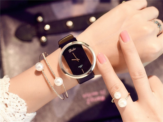 Relógio Feminino Dallas Pulseira De Couro Promoçâo