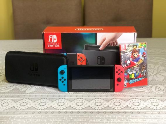 Nintendo Switch Neon 32gb+64gb Microsd+ 4 Jogos+ (s On Line)