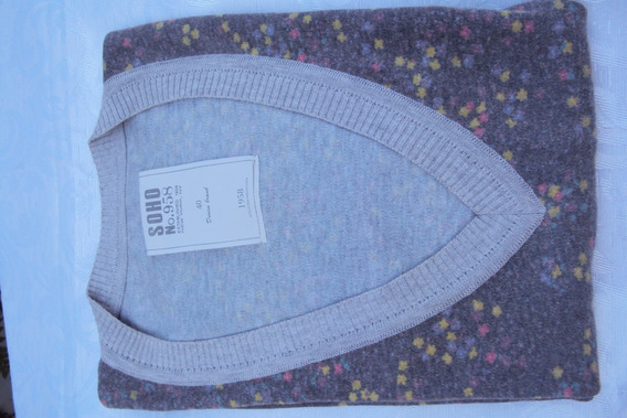 Sweater *soho* Gris+florcitas Colores - Talle 40