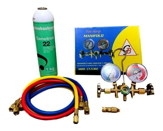 Juego Manómetros Refrigeración, Gas R22, Válvula De Carga