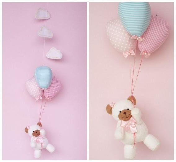 Móbile De Teto Ursinha Com Balões