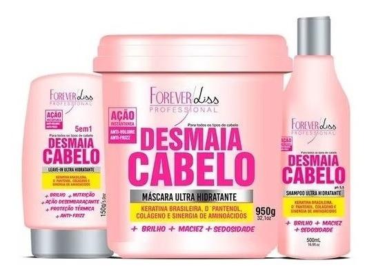 Kit 3 Produtos Forever Liss Desmaia Cabelo Máscara 950g