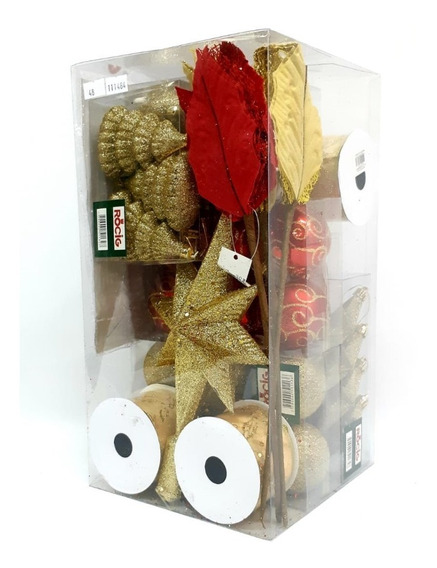 Kit De Adornos 48 Pzas.rojo/oro P/ Arbol De Navidad.- Sheshu