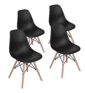 Set De 4 Sillas De Comedor Rico Negro Eames