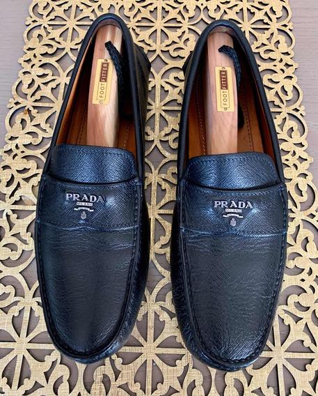 Zapatos Prada Mocasines Saffiano Originales 27 (n Gucci