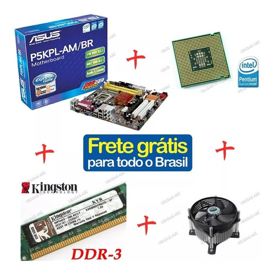 Placa Mãe P5kpl-am Intel Lga775 Dual Core +cooler +2gb Ddr2