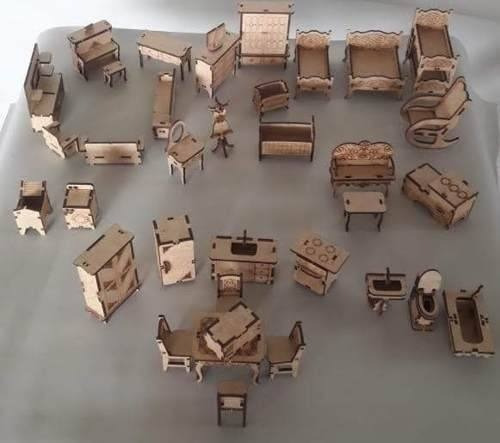 Kit C/ 35 Mini-móveis Casinha Da Polly Mdf Crú C/ Kit Parque