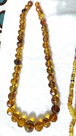 Collar De Ámbar Facetado Grande De Chiapas, Cafg1