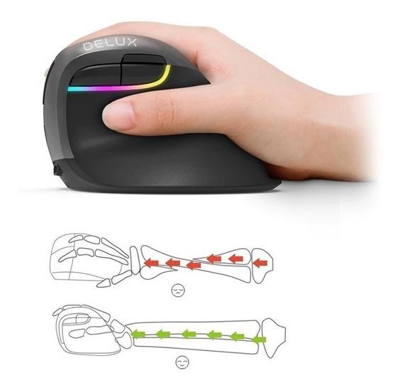 Mouse Ergonómico Delux M618mini Bluetooth Wifi Recarregável