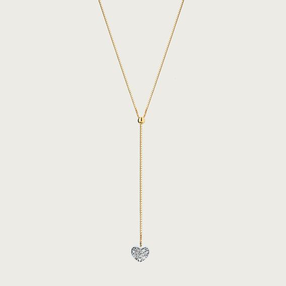Gargantilha Y Coração Em Ouro 18k Com Diamantes